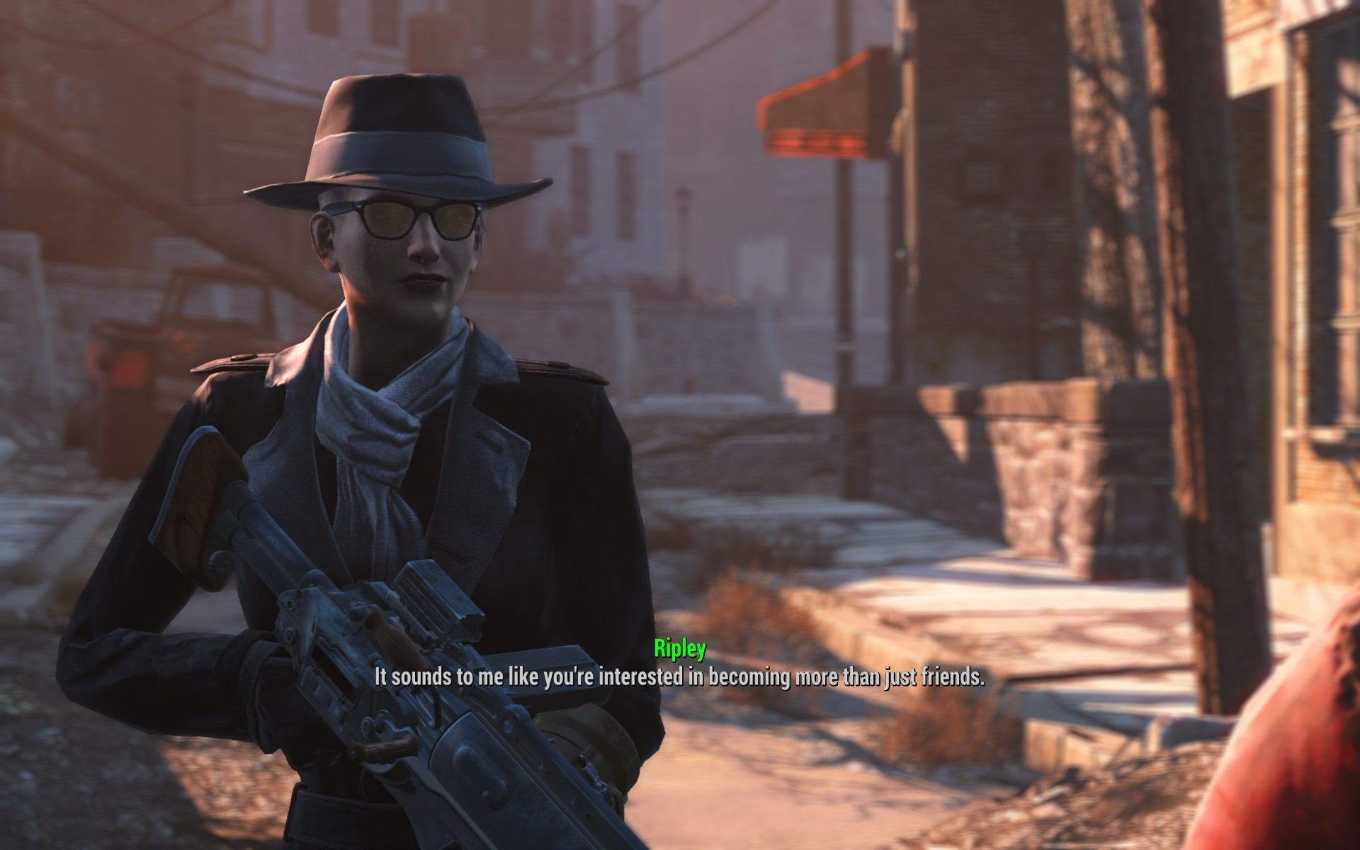 Fallout 4 Character in Silver Shroud Costume