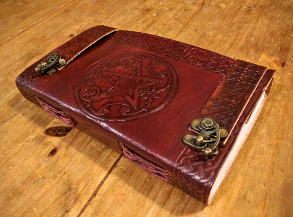 Leather-bound Journal with a Pentacle on the front