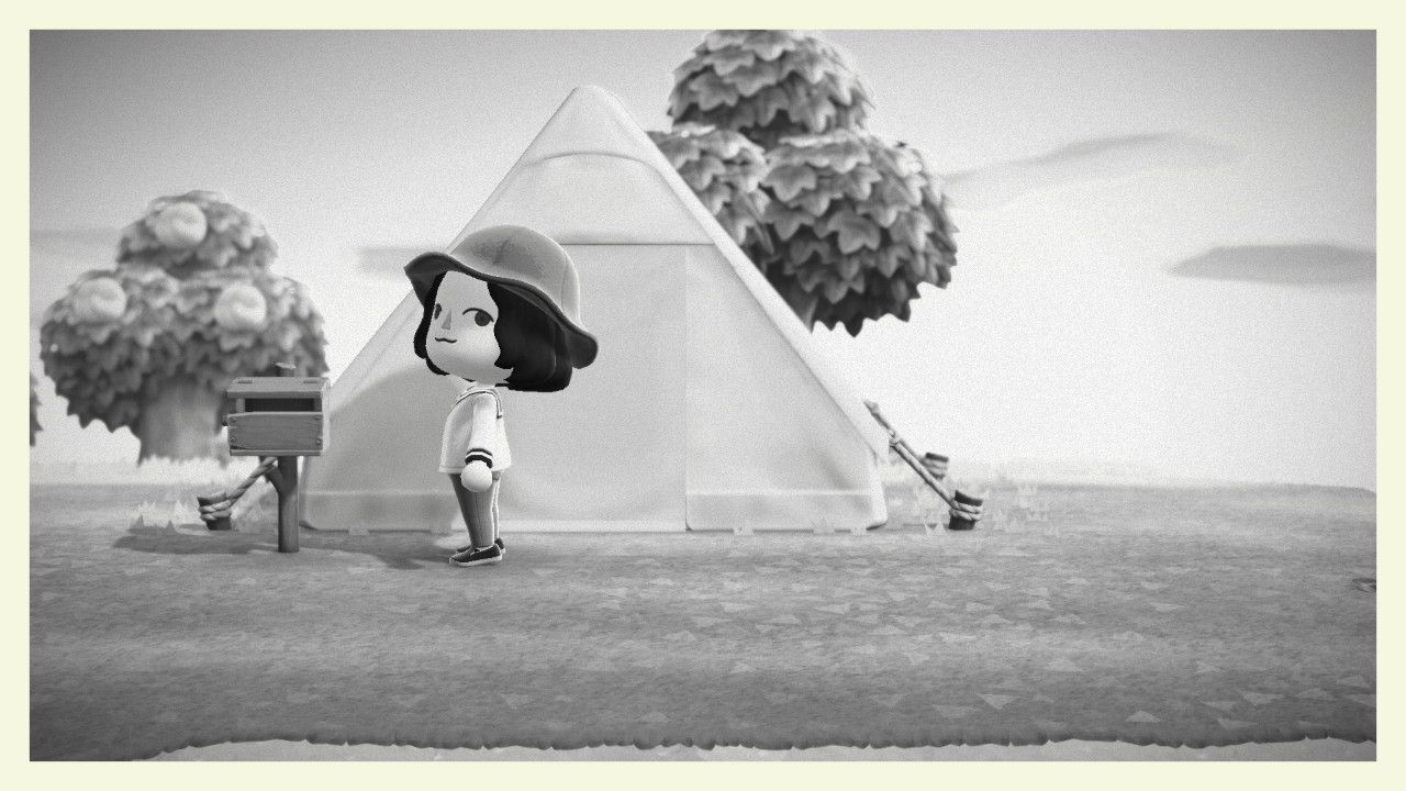 Animal Crossing player character in front of starting tent with peach tree in background