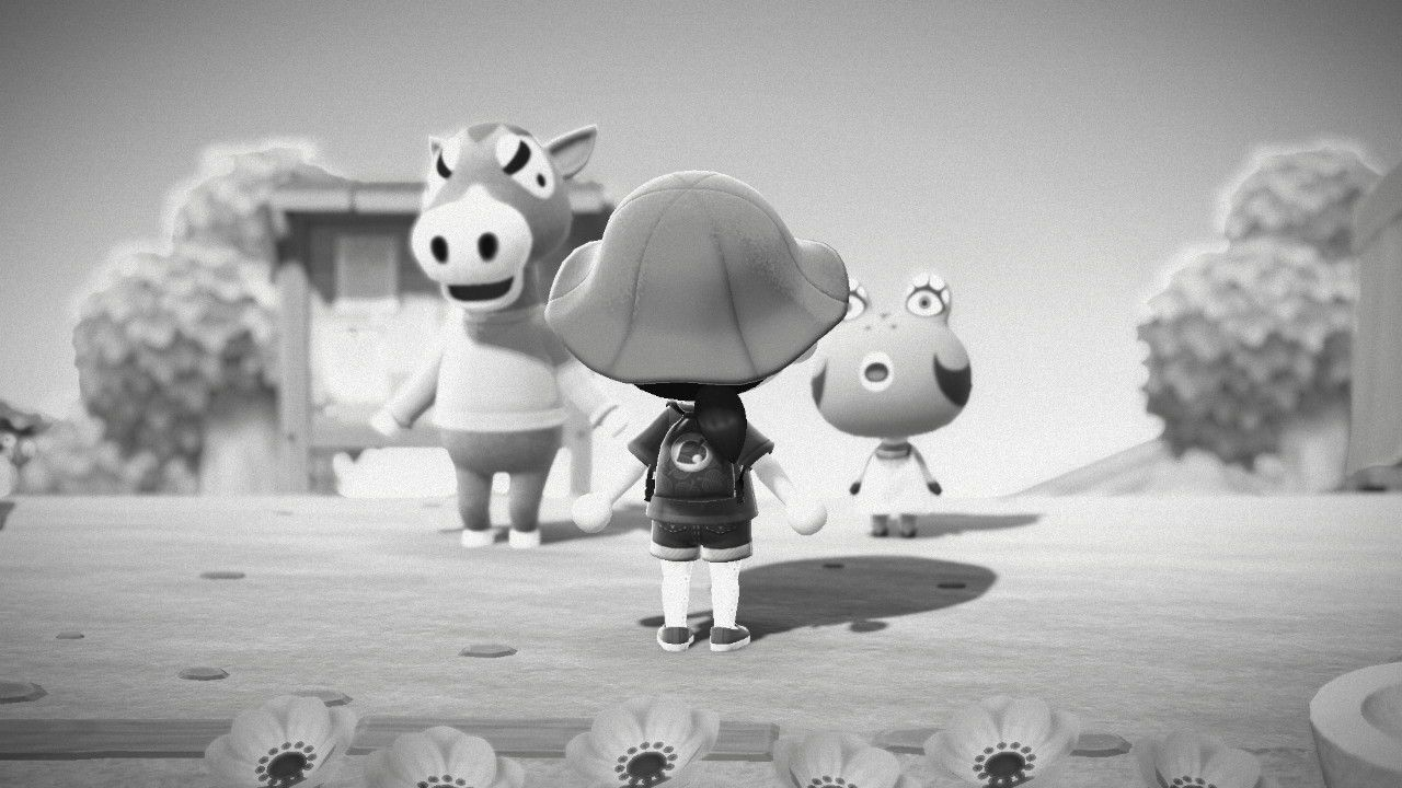 Animal Crossing player character facing away in front of an anthropomorphic horse and frog who are singing