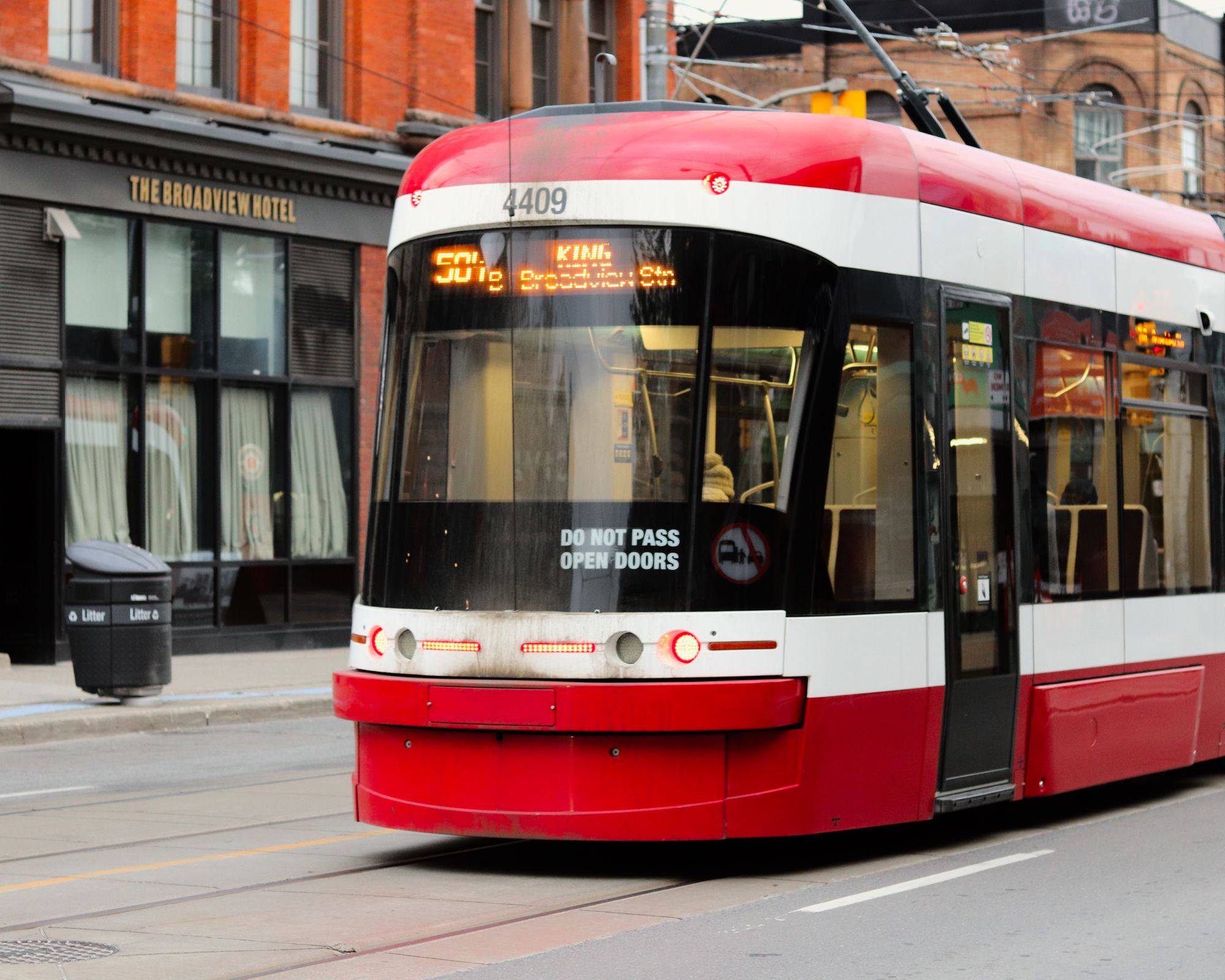 TTC street car with Broadview Hotel visible in background